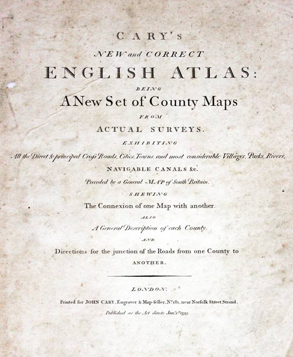 Cary English Atlas 1793 Titlepage