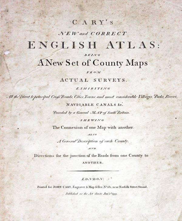 Cary English Atlas 1793 Titlepage