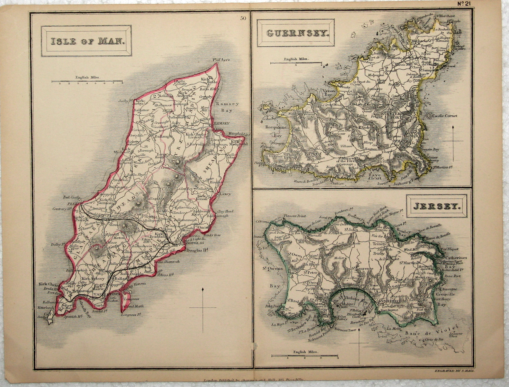 Antique Map Channel Islands Sydney Hall 1875 – Map Uk and Channel Islands
