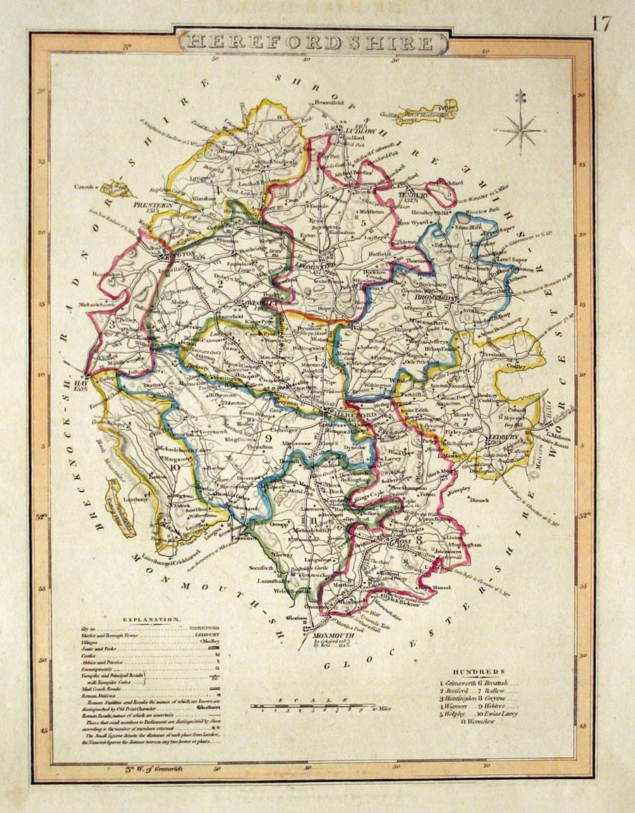 antique maps of herefordshire  england