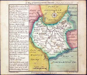 Leicestershire Uk Map.Antique Maps Of Leicestershire Richard Nicholson