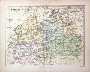 Antique Maps of Surrey, England - Richard Nicholson