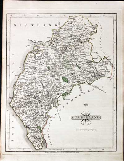 Art Prints Fine Antique County Map Of Cumberland By John Cary Original Outline Colour 1793