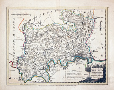 19th Century Repro Middlesex Map Thomas Moule Map Map of Middlesex