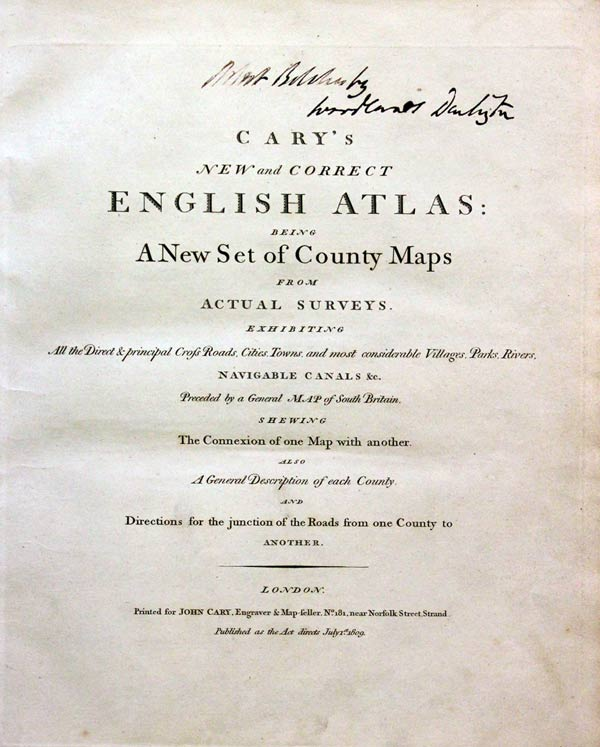 Cary English Atlas Titlepage 1809