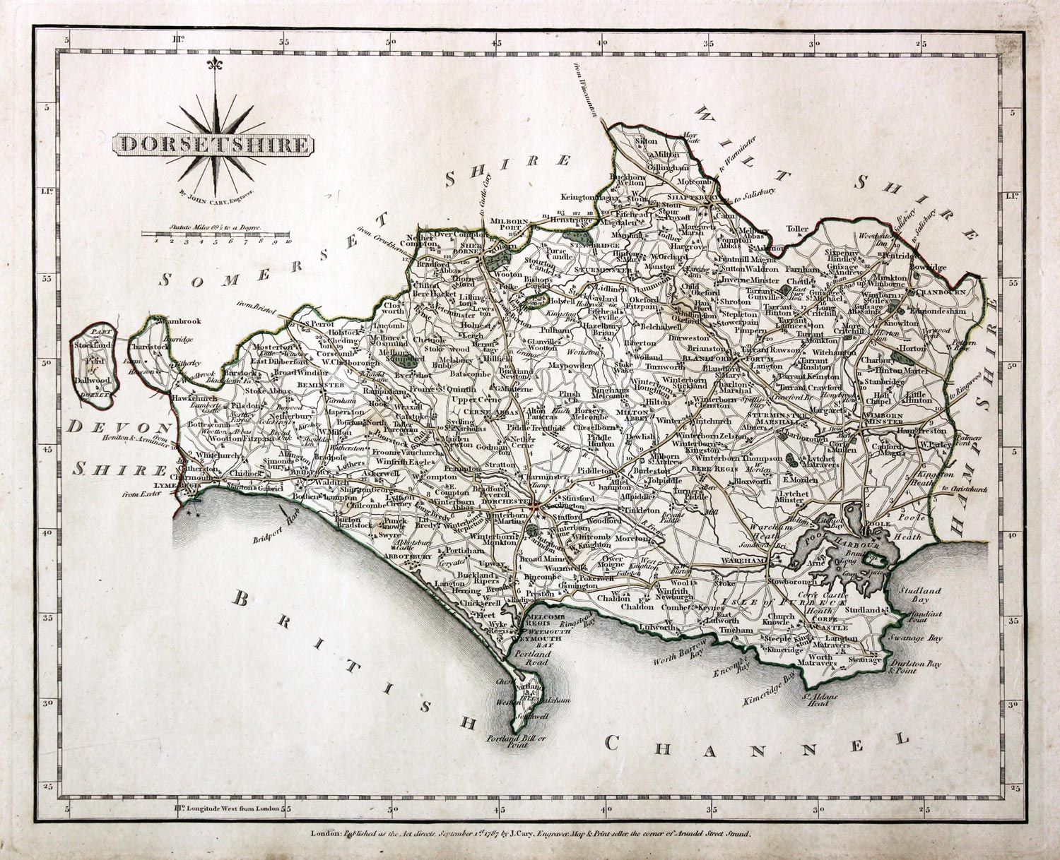 John Cary map of Dorsetshire