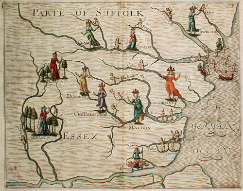 Map of Suffolk and Essex by Michael Drayton