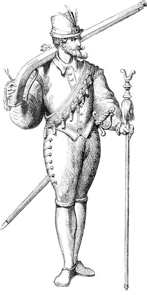 17th century man with a gun