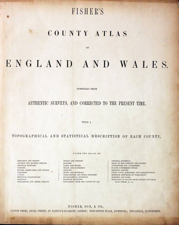 Fisher's County Atlas Titlepage