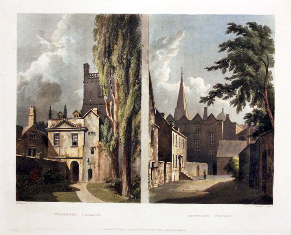 Pembroke and Hertford Colleges, R. Ackermann, c.1814