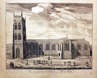 Old engraving of Bangor Cathedral