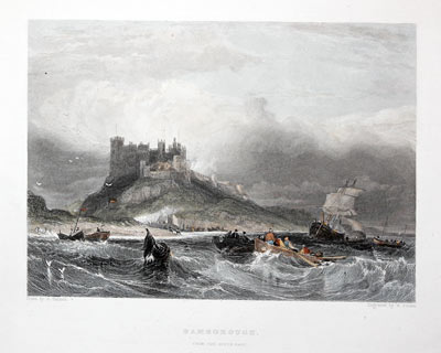 Bamborough Castle, G. Balmer / W. Finden, c.1840
